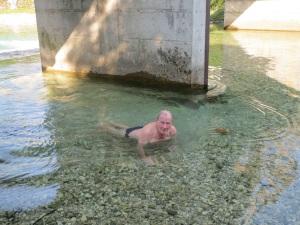 Fred catching trout in Sava Bohinjska river